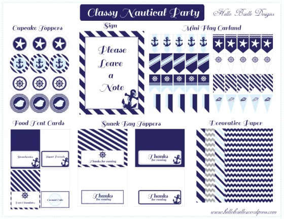 nautical party, baby shower, birthday, Hello Brielle Designs