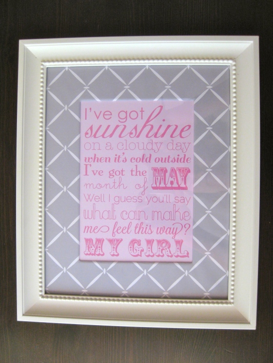 personalized, my girl lyrics, quote, pink, grey