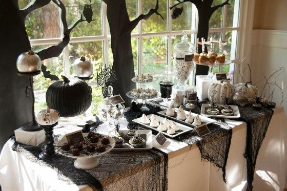 black pumpkins, owls, trees, ghosts