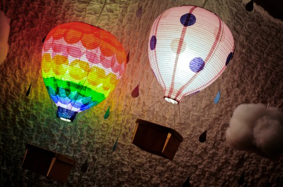 rainbow hot air balloon, Ikea hack, night light