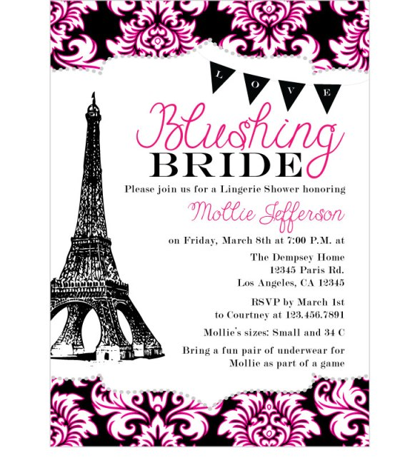 Paris Bridal Shower, invitation, Eiffel Tower