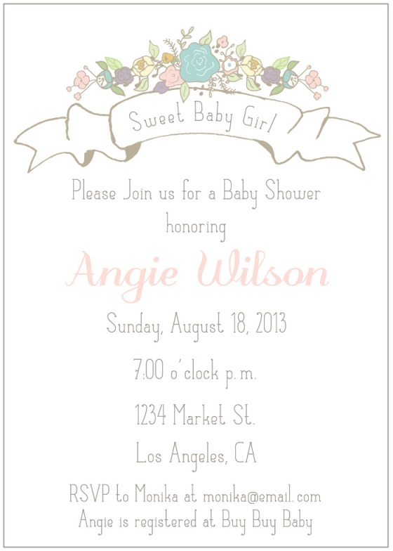 baby girl, baby shower, vintage, banner, flowers