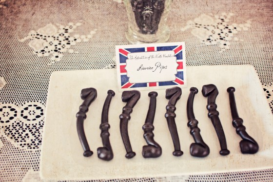 licorice pipes, sherlock holmes party favors, british decor