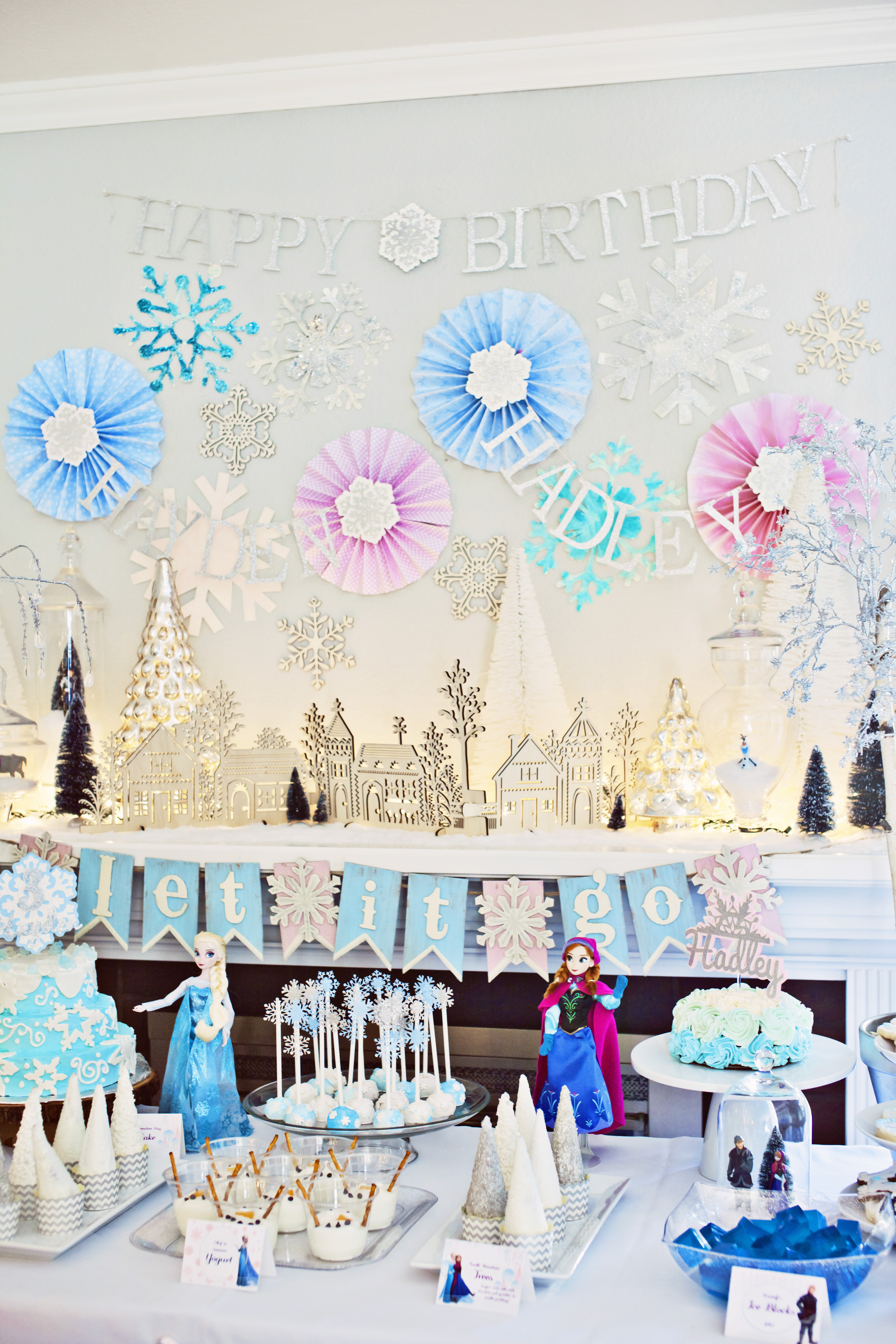 frozen birthday party dessert table and background