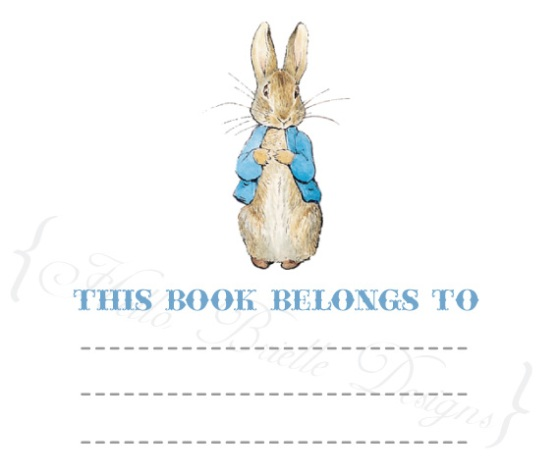 Peter Rabbit Baby Shower Book Plates, bring baby a book, build baby a library