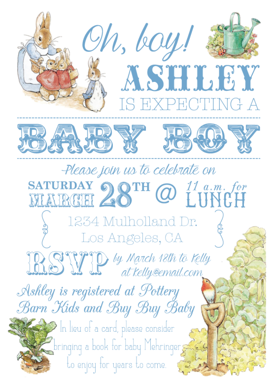 Baby boy, Peter Rabbit, Beautrix Potter art, baby shower, spring garden party, first birthday